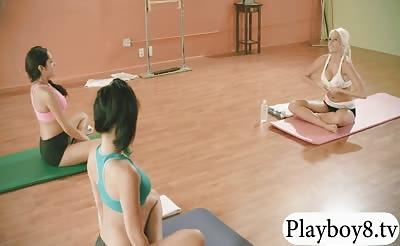 Hot girls learned new yoga exercises with busty trainer