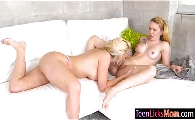 Big boobs momma Alena Croft make out with cute teen girl
