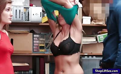 Teen and mom caught stealing merchandise and fucked on turns