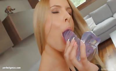 Hot solo girl Brandy Smile masturbating fingering on Give M