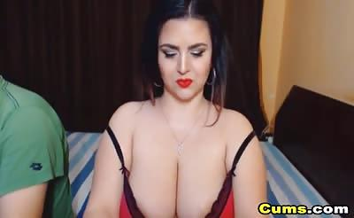Babe with Huge Boobs Cock Sucking