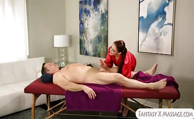 Anna Deville gets fucked by her client on massage table