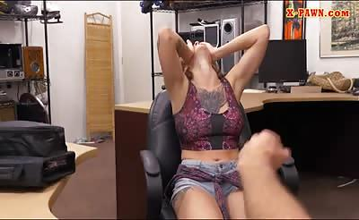 Busty tattooed brunette babe gets pussy railed by pawn man