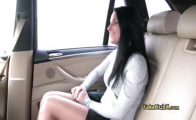 Busty sexy brunette fucks in taxi