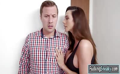Horny stepmom Ariella Ferrera fucks and enjoys a hot cumshot