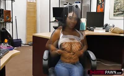 Big breasts ebony Brittney White gets hammered hard by Shawn