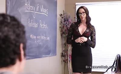 Three students bangs big tits teacher in school