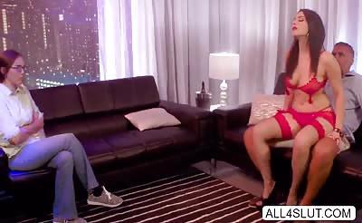 Naughty Valentina stripteases Keiran