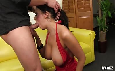 WANKZ- Brunette Alexis Grace Gags on Dick