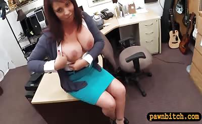 Brunette MILF gets her pussy pounded by nasty pawn man