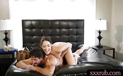 Teen masseuse gets fucked by older client after massage