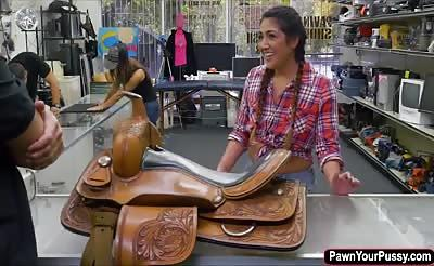 Brunette latina having sex for cash in the pawnshop