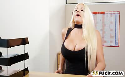 Nicolette Shea gets pounded by nasty man on the desk