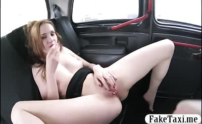 Sexy babe gets her shaved muff drilled by fake driver