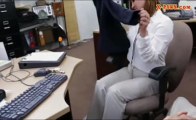 Foxy business woman railed by pawn dude at the pawnshop