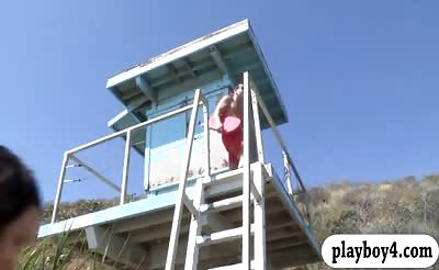 Two college babes get pounded by nasty lifeguard in bed