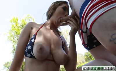 Sexy babe Lena Paul tit fuck and rammed by big cock outdoors