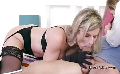 Busty blonde mom in lingerie fucks in threesome