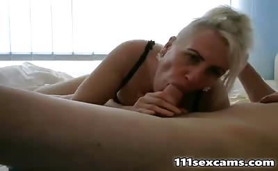 Amateur mature blonde sucked and gets fucked on webcam
