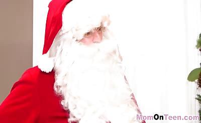 Horny Sneaky santa fucks slutty milf and teen babes
