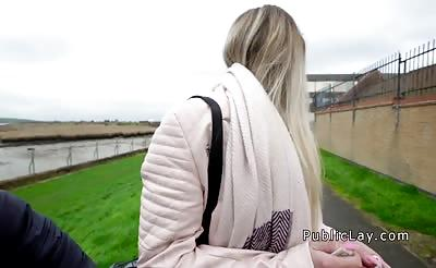 Blonde works cock outdoor for tuition