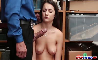 Petite shoplifter Lily Adams gets a hot sex