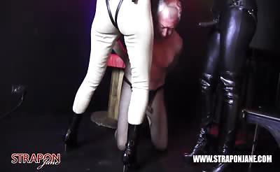 Femdoms strapon face fuck sissy cum slut