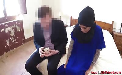 Arab Ex Enjoys Riding Huge Schlong In Hotel Room