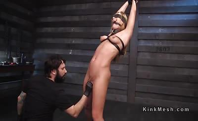 Tied up brunette slave got pussy torment
