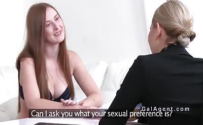 Blonde lesbian female agent bangs redhead