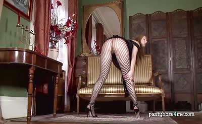 Long black sexy pantyhose