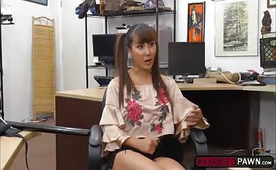 Asian babe Tiffany Rain fucks pawnmans cock for money