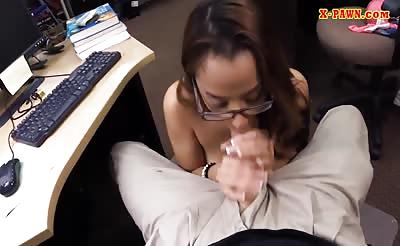 Slim college girl railed by pawn keeper at the pawnshop