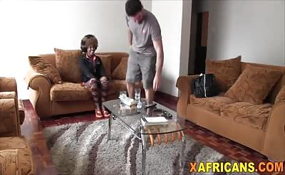 Amateur black bitch rides white guy on couch