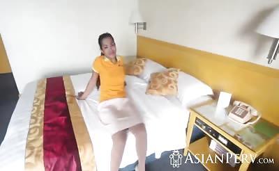 Asian hottie pleased by stranger