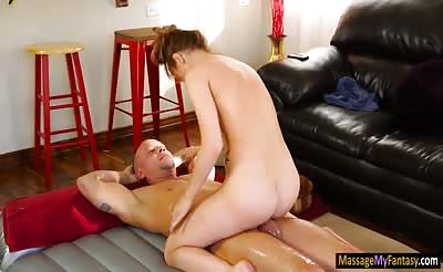 Pretty masseuse Alaina Dawson pounded by her bald client