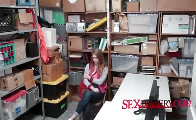 Pale beauty sucking security's penis