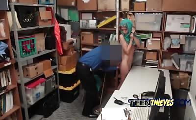 Sexy arab thief gets punished by officer's cock