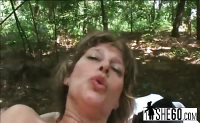 Naughty milf riding fat cock outdoors