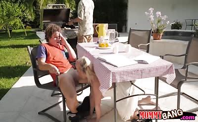 Bailey Brooke and Reagan Foxx threeway session outdoors