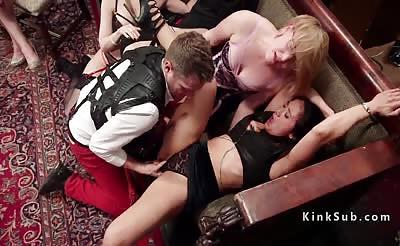 Anal orgy bondage fucking at party
