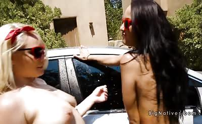 Huge natural tits babes washing car