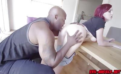 The smitten slut sucking a big black cock