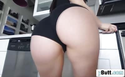Passionate brunette with huge round ass loves to get fucked