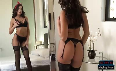 Wife in lingerie fucks husband after he came home from work