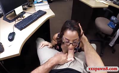 Coed with glasses nailed by pawn keeper at the pawnshop