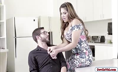Busty babe Mercedez Carrera fucking with her office mate