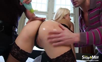 Stunning blonde MILF gets DP'ed