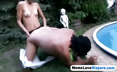 Milf pounding young dude with strap on