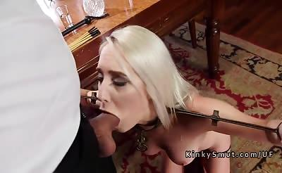 Dude bangs blondes in rope bondage threesome
